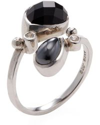 Anzie - Sterling Silver, Hematite, Black Onyx & White Sapphire Classique Coralia Twist Ring - Lyst