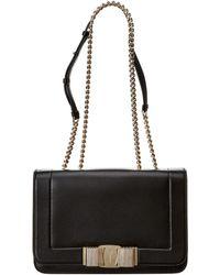 9ced16a26f4d Lyst - Ferragamo Vara Bow Leather Flap Shoulder Bag in Black