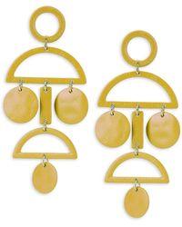 Gemma Simone Geo Sterling Silver Earrings - Yellow
