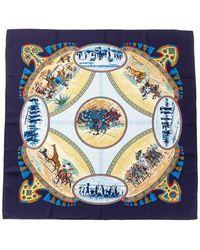 """Hermès """"cavaliers Peuls,"""" By Jean De Fougerolle Silk Scarf - Blue"""