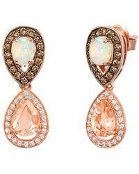 Le Vian ? 14k Rose Gold 1.82 Ct. Tw. Diamond & Peach Morganite? Earrings - Metallic