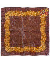 Chanel Brown Silk Jewel Border Print Scarf