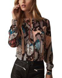 Reiss Lia Paisley Print Silk Shirt - Multicolour