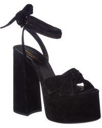 Saint Laurent Paige 105 Suede Platform Sandal - Black