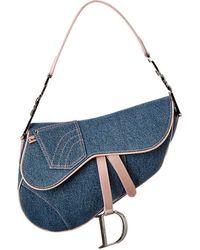 Dior Limited Edition Pink & Blue Denim Saddle Bag
