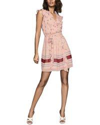 Reiss Stephanie Pink Ruffle Print Dress