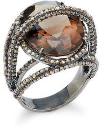 Bavna Champagne Diamond, Smokey Quartz & Sterling Silver Ring - Metallic