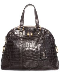 Saint Laurent Yves Brown Crocodile Leather Muse Satchel, Never Carried