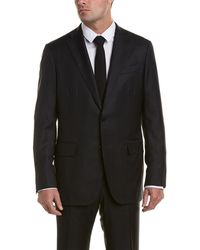 Eidos Wool Suit With Flat Front Pant - Gray