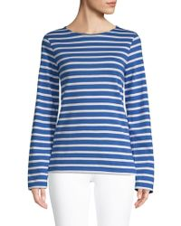 Saint James Minquiers Cotton Striped Draped Sleeve Top - Blue
