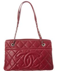 Chanel - Burgundy Quilted Caviar Leather Medium Timeless Cc Tote - Lyst