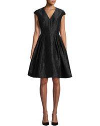 Carmen Marc Valvo Cap Sleeve Floral Brocade Dress - Black