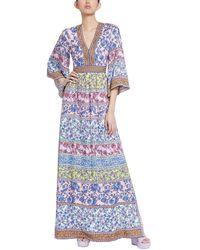Alice + Olivia Lena Kimono Sleeve Maxi Dress - Blue