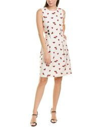 Anne Klein Crepe Seamed Fit & Flare Dress - White