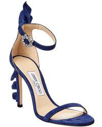 Jimmy Choo Karalie 100 Suede Sandal - Blue