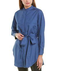 Vince Oversized Belted Shirt - Blue