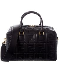 Fendi Ff Embossed Leather Boston Bag - Black