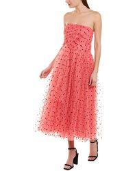 Carolina Herrera Flocked Waterfall-panel Strapless Tulle Gown - Pink