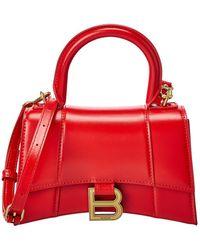 Balenciaga Hourglass Xs Leather Top Handle Satchel - Red