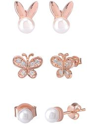 Gabi Rielle Rose Gold Over Silver Pearl & Cz Earrings - Pink