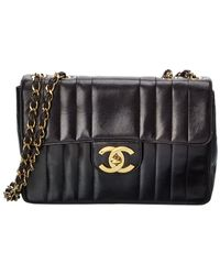 Chanel Black Lambskin Leather Vertical Single Flap Jumbo Bag