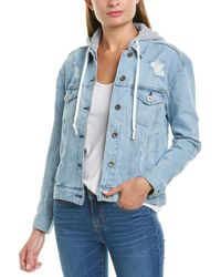 Kendall + Kylie Hooded Denim Jacket - Blue