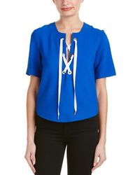 Sandro Effy Lace-up Top - Blue