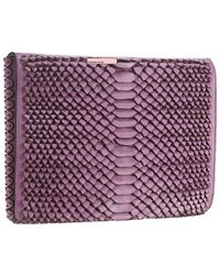 Nada Sawaya Cora Leather Clutch - Purple