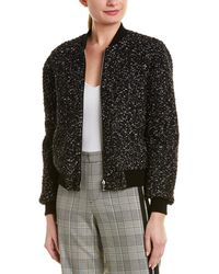 Alice + Olivia 'lonnie' Reversible Bouclé Knit Bomber Jacket - Black