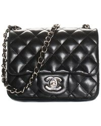 Chanel Black Quilted Lambskin Leather Classic Mini Square Flap Bag
