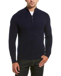 Qi Cashmere 1/4-zip Mock Sweater - Blue
