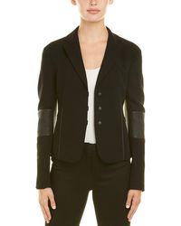 Akris Wool-blend Leather-trim Jacket - Black