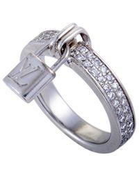 Louis Vuitton Louis Vuitton 18k 0.40 Ct. Tw. Diamond Logo Lock Ring - Metallic