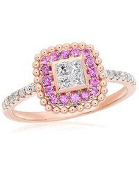 Diana M. Jewels . Fine Jewellery 14k Rose Gold 0.29 Ct. Tw. Diamond & Sapphire Ring - Pink