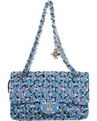 Chanel - Blue Quilted Denim Fringe Chain Flap Bag - Lyst