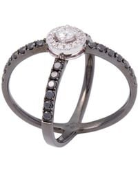 Vendoro - 18k Black Gold & 1.08 Total Ct. Diamond Crossover Ring - Lyst