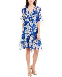 Elie Tahari Silk Faux Wrap Dress - Blue
