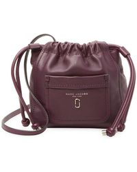 Marc Jacobs Leather Tied Up Bucket Bag - Purple