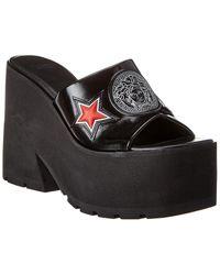 Versace Platform Leather Sandal - Black