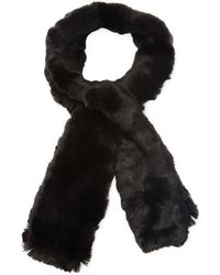 Badgley Mischka Honeycomb Stitch Pull Through Scarf With Faux Chinchilla - Black