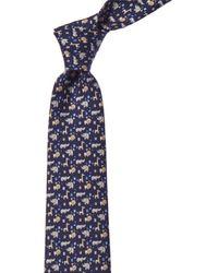 Ferragamo Navy Animals Silk Tie - Blue