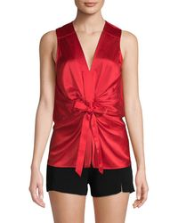 Ramy Brook Edel Ruched Blouse - Red