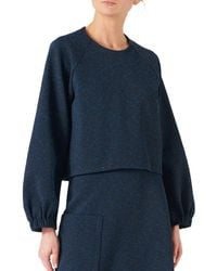 Tibi Cropped Sweatshirt - Blue