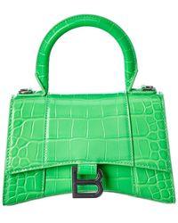 Balenciaga Hourglass Xs Croc-embossed Leather Top Handle Satchel - Green
