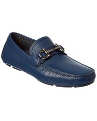 Ferragamo Parigi Gancini Bit Leather Driver - Blue