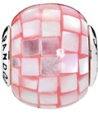 PANDORA - Jewelry Essence Collection Silver & Mother-of-pearl Pink Mosaic Compassion Charm - Lyst
