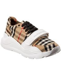Burberry Regis Check Low-top Sneakers With Exaggerated Sole - Natural