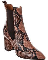 Paris Texas Snake-embossed Leather Bootie - Brown