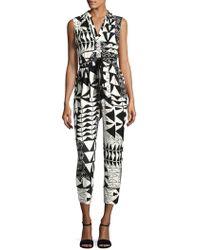 Plenty by Tracy Reese Geometric V-neck Jumpsuit - Black