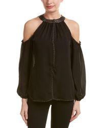 Love Sam Cold-shoulder Silk Blouse - Black